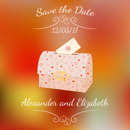 sealing wax: Vector wedding chest with an envelope over abstract colorful blurred vector background.