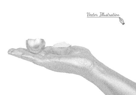 eggshell: Man Hand holding eggshell in style black a white engraving.  Illustration