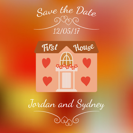 first house: Wedding house for newlyweds over abstract colorful blurred vector background.