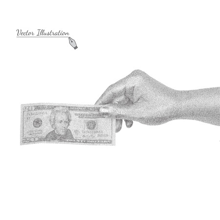 geste: Vector Hand with a banknote in black and white graphic style pointillism