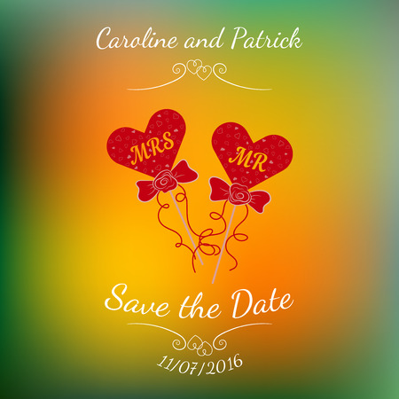 photoshoot: Vector wedding hearts MR and MRS on a stick over abstract colorful blurred background. Illustration