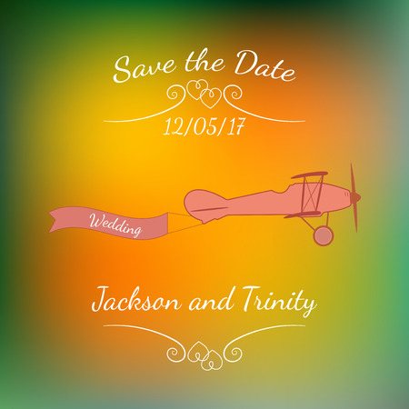 matrimony: Retro plane with a wedding banner and names over abstract colorful blurred background.