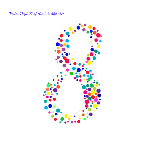 digit 8: Vector Digit 8 from Bright Color Ink Blots with Splashes. Element for your bright holiday projects and color designs. Just make words.