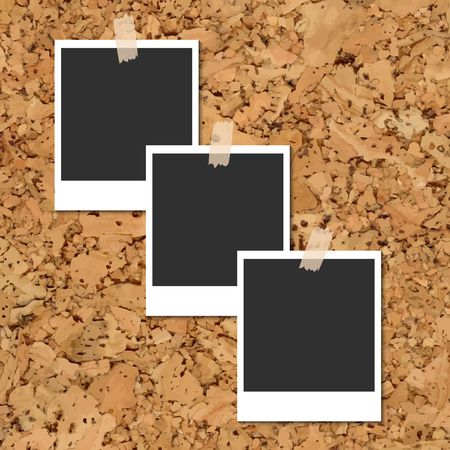fixed: Vector cork board with three blank instant photo cards fixed by an adhesive tape Illustration