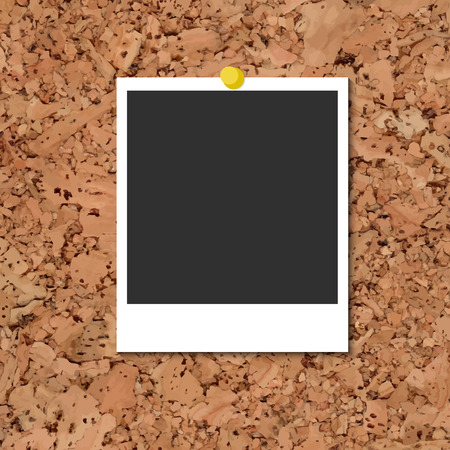 yellow photo: Vector cork board with instant photo card and yellow pin