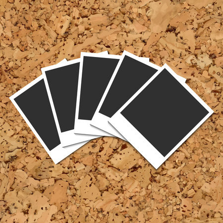 instant photo: Vector cork board with five scattered of fan hand blank instant photo cards