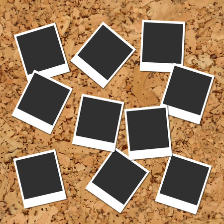 instant photo: Vector cork board with ten scattered blank instant photo cards Illustration