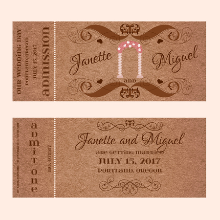 Vector Grunge Double Sided Ticket for Wedding Invitation and Save the Date with flower arc and elegant floral curl. Element for wedding designs, web, logo, and other holiday romantic projects.