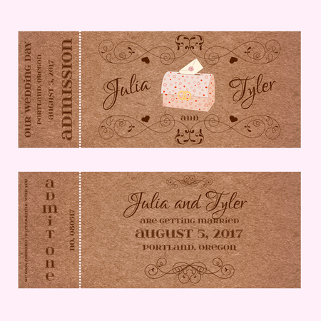 sealing ring: Vector Grunge Ticket for Wedding Invitation and Save the Date with wedding chest and envelope and elegant floral curl. Element for wedding designs, web, logo, and other holiday romantic projects. Illustration