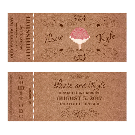 Vector Grunge Double Sided Ticket for Wedding Invitation and Save the Date with bouquet of roses and elegant floral curl. Element for wedding designs, web,  , and other holiday romantic projects. Illustration