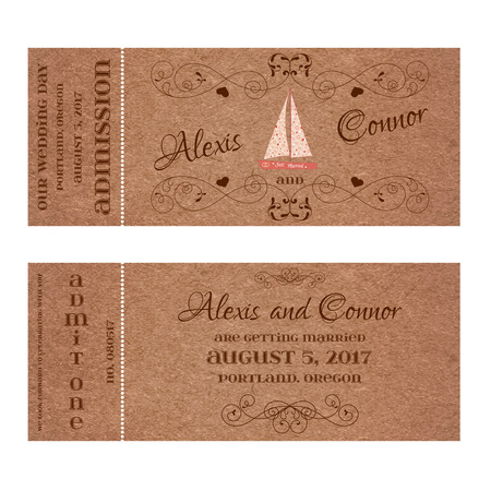 Vector Double Sided Ticket for Wedding Invitation and Save the Date with wedding sailing yacht and elegant floral curl. Element for wedding, Valentines day, web and other holiday romantic projects. Illustration