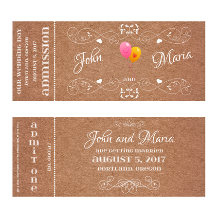 601 double date stock illustrations cliparts and royalty free vector grunge double sided ticket for wedding invitation and save the date with air balloon and stopboris Choice Image