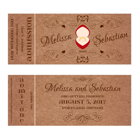 golden ring: Vector Grunge Double Sided Ticket for Wedding Invitation and Save the Date with wedding golden ring in a red box.
