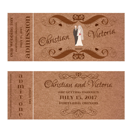 Vector Grunge Double Sided Ticket for Wedding Invitation. Illustration
