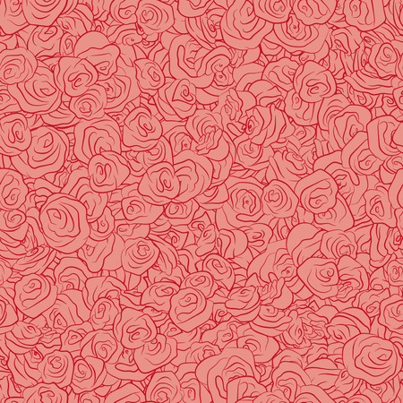 dense: Vector Red Handdrawn Roses Seamless Pattern. Background texture with dense filling with flowers for your romantic projects, wrapped paper, packing and other seamless designs