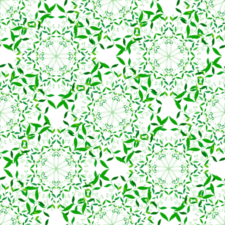 Vector Green Floral Spring Mandala Seamless Pattern. Background texture with Green Floral Spring Mandala for your  projects, wrapped paper, packing and other seamless designs