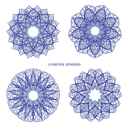 lilas: Set from Vector Blue Indian Curl Ornament. Element for your floral designs, web, logo, and other projects.