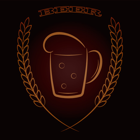 Shining vector mug beer icon with ears of wheat over dark brown background. Ideal for emblem, label, logo and menu cafe and pub. Live line draw Illustration