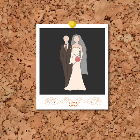 photo card: Vector cork board with instant photo card and bride and groom pastel silhouettes over black. Element for your wedding designs, valentines day projects, and other your romantic projects.