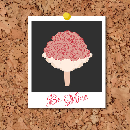 photo card: Vector cork board with instant photo card and wedding bouquet from pink roses over black. Element for your wedding design, valentines day projects, and other your romantic projects.