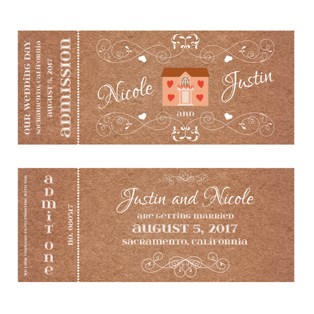 first house: Vector Double Sided Ticket for Wedding Invitation and Save the Date with wedding house for newlyweds. Element for wedding, Valentines day, web and other holiday romantic projects. Illustration