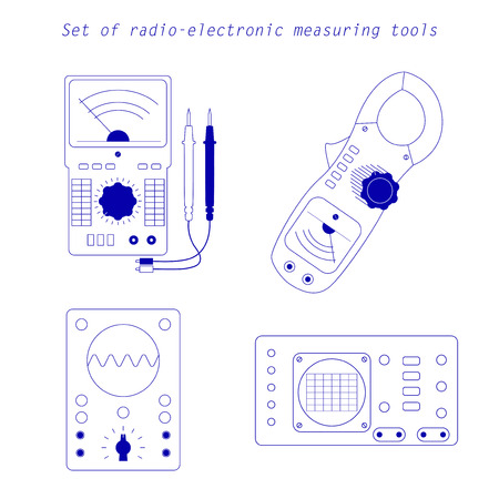Vector Blue Icons of analogue electrical measuring instruments. Oscillograph, multimeter, current pincers, voltmeter, ampermeter for your designs, logo, web and other projects