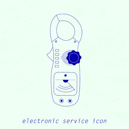 voltmeter: Vector Blue Icon of analogue electrical measuring instrument.   Multimeter, current pincers, voltmeter, ampermeter for your designs, logo, web and other projects Illustration