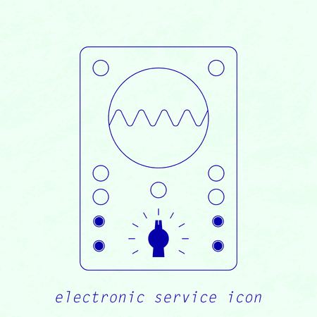 voltmeter: Vector Blue Icon of analogue electrical measuring instrument.   Oscillograph, Multimeter, voltmeter, ampermeter for your designs, logo, web and other projects