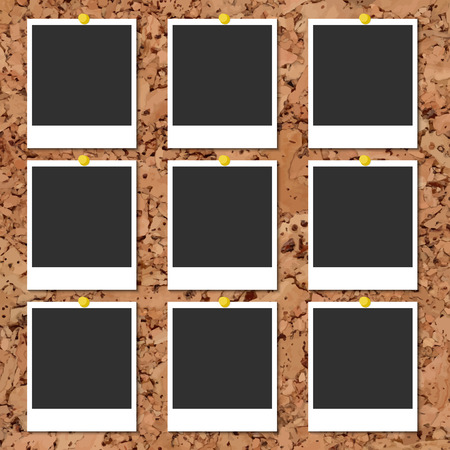 instant photo: Vector cork board with nine blank instant photo cards and color pins