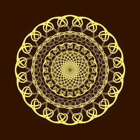 golden symbols: Vector Hand drawn gold flower mandala over dark brown. Invitation element. Tattoo, astrology, alchemy, boho and magic symbol for your projects