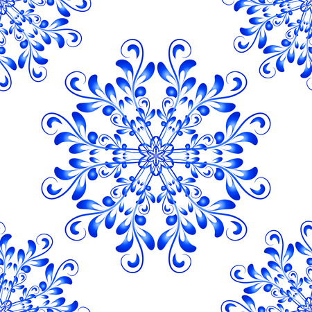 gzhel: Blue Vector Seamless Floral Mandala Pattern in national russian Gzhel style. Seamless pattern for your wrapped projects. Pattern in swatches panel