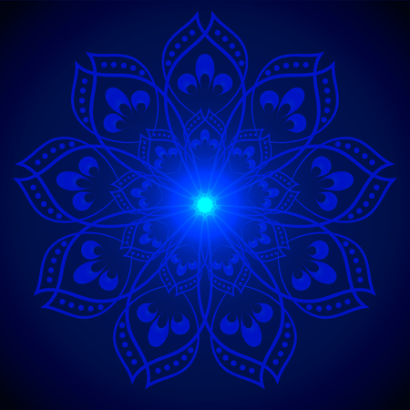 esoterics: Vector Hand drawn shine blue flower mandala over dark blue. Invitation element. Tattoo, astrology, alchemy, boho and magic symbol for your projects