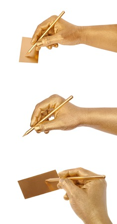 geste: Mans golden hand writes on golden card by a pencil. Isolated on the white. Set from three images for your business presentation, invitation card and other projects