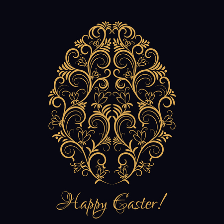 gold floral: Easter egg with gold floral ornament over black. Happy Easter. Floral element, icon for your invitation holiday card Illustration