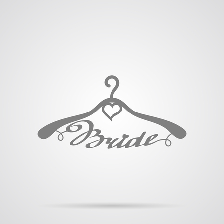 Vector Gray Wedding Hangers Bride Icon over light gray background. Simple element for your wedding designs, wedding business projects, logo, web and other your projects Illustration