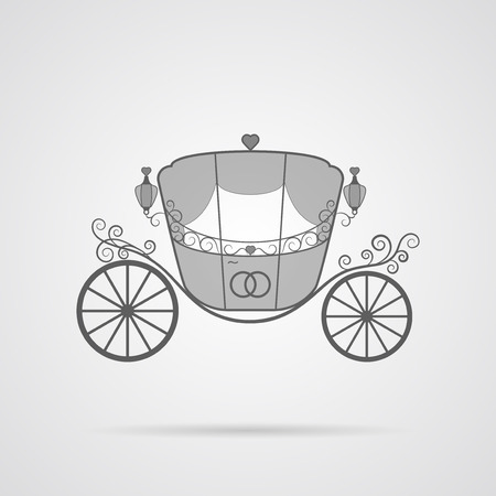 matrimony: Vector Gray Wedding Carriage Icon over light gray background. Simple element for your wedding designs, wedding business projects, logo, web and other your projects Illustration