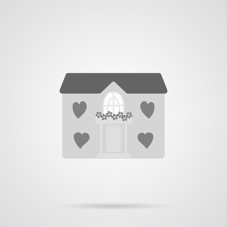 first house: Vector Gray House Flat Icon over light gray background. Simple element for your designs, web, projects, logo, and other.
