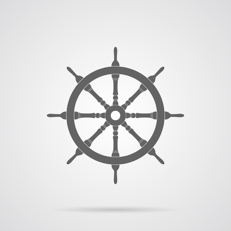 steering wheel: Vector Gray Steering Wheel Flat Icon over light gray background. Simple element for your designs, web, projects, logo, and other.