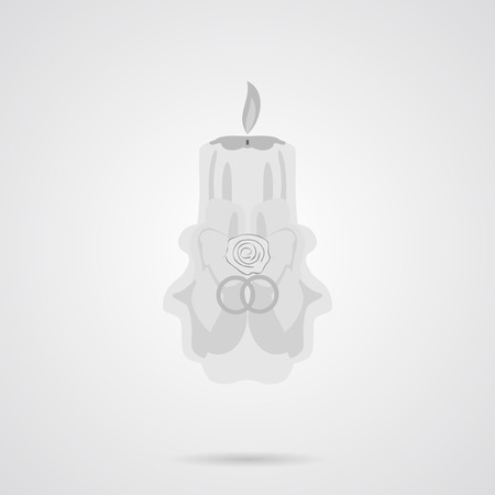 simple logo: Vector Gray Wedding Candle Flat Icon over light gray background. Simple element for your designs, web, projects, logo, and other.
