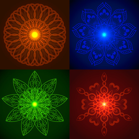 esoterics: Set of Vector Geometric Bright Glow Mandala. Elements for your designs, invitation cards, yoga, meditation, astrology, religion and other bright projects