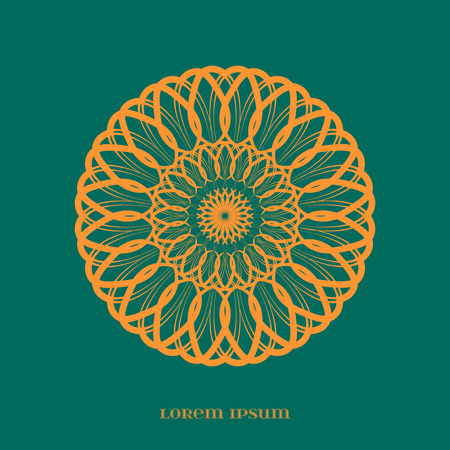 esoterics: Vector Geometric Orange Mandala over Green. Element for your designs, invitation cards, yoga, meditation, astrology, religion and other projects