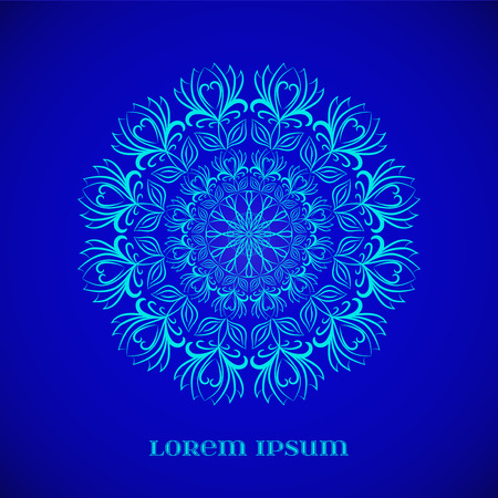 esoterics: Vector Geometric Blue Glow Mandala. Element for your designs, invitation cards, yoga, meditation, astrology, religion and other projects
