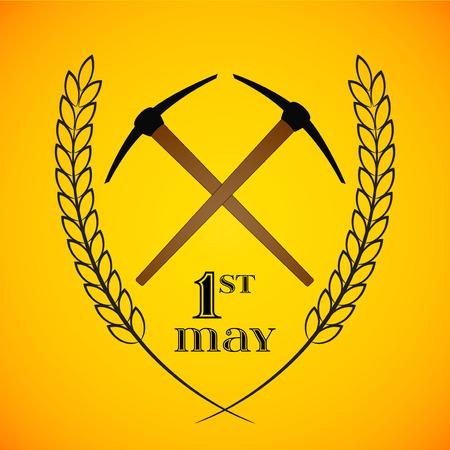 Primo Maggio. 1 ° maggio. Labor Day sfondo con due picconi incrociate. Poster, cartolina d'auguri o modello di brochure, simbolo del lavoro e del lavoro, icona del vettore