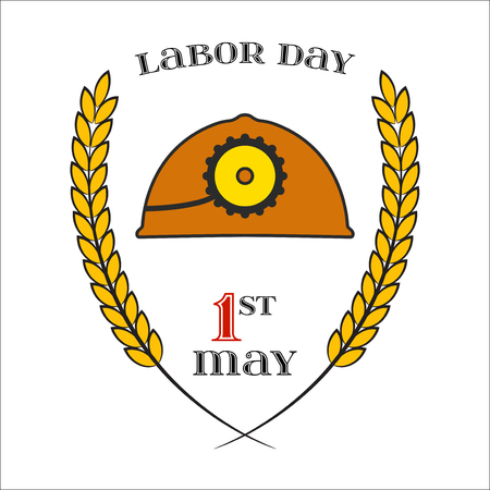 mine lamp: May Day. May 1st. Labor Day Icon with helmet over white . Element for poster, greeting card or brochure template, symbol of work and labor, vector icon