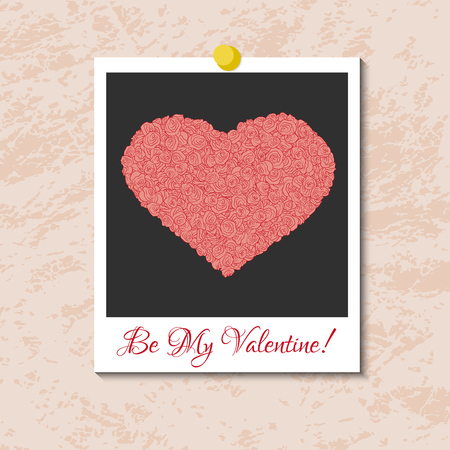 instant photo: Vector instant photo card with heart from pink roses. Element for wedding designs, Valentines Day, web and other holiday romantic projects.