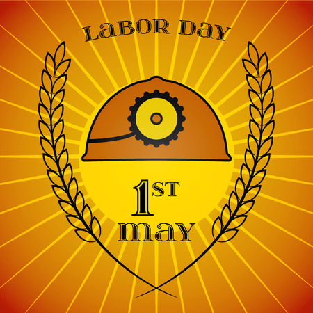 mine lamp: May Day. May 1st. Labor Day background with mine helmet and wheat ears over retro rays background. Poster, greeting card or brochure template, symbol of work and labor, vector icon Illustration