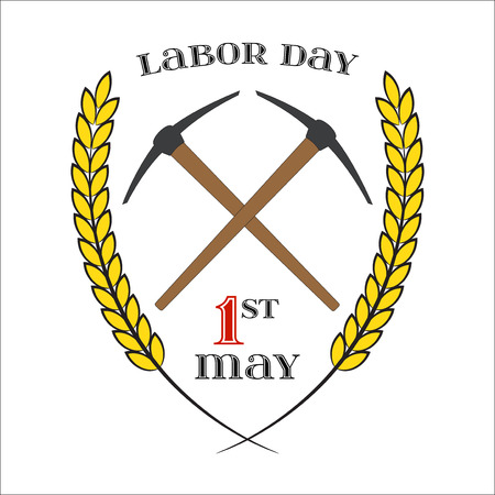 pickaxe: May Day. May 1st. Labor Day background with two crossed pickaxes over white . Element for poster, greeting card or brochure template, symbol of work and labor