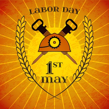 mine lamp: May Day. May 1st. Labor Day background with mine helmet and jackhammers with wheat ears over retro rays background. Poster, greeting card or brochure template, symbol of work and labor, icon