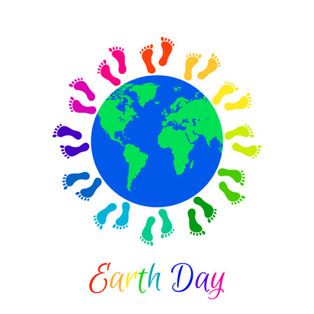 legs around: Multicolor kids legs around planet Earth. Earth Day holiday.