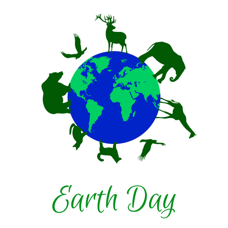 april: Green animals silhouettes around blue planet Earth. Earth Day holiday. Dog, cat, deer, eagle, bear, elephant, giraffe silhouettes.